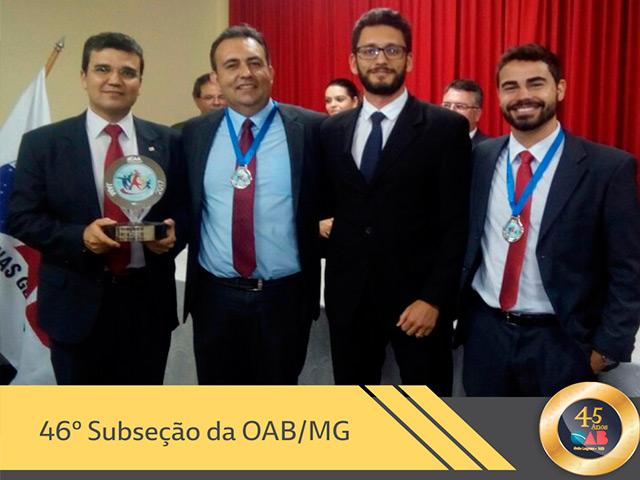 Entrega do troféu para a dupla medalhista de prata no XVI Jogos dos Advogados Mineiros - JAM