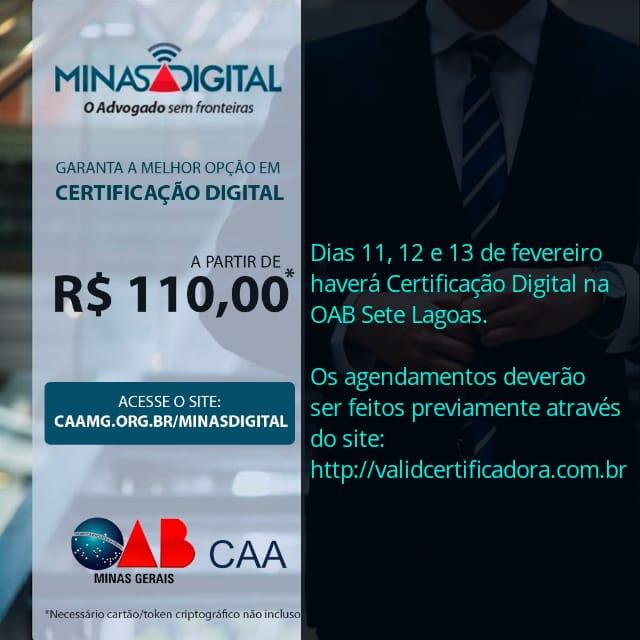 CERTIFICAÇÃO DIGITAL EM SETE LAGOAS DE 11 A 13 DE FEVEREIRO