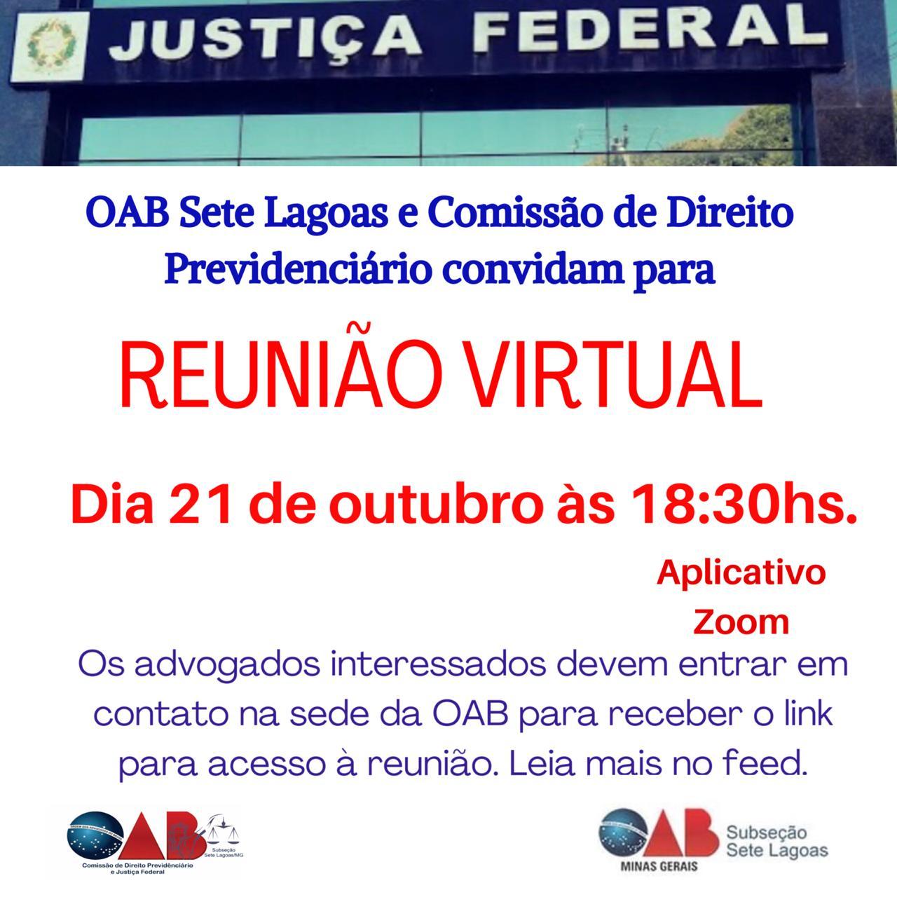 Reunião virtual  acerda da Justiça Federal